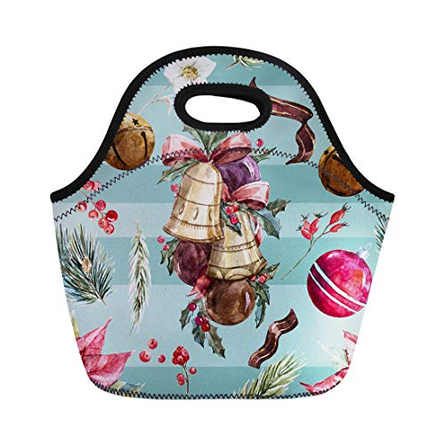 Semtomn Neoprene Lunch Tote Bag Watercolor Christmas Pattern Balls Poinsettia Flower Red Years Holiday Reusable Cooler Bags Insulated Thermal Picnic Handbag for Travel,School,Outdoors,Work