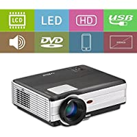 LED Home Theater Proyector LCD Digital Image System Projector 3500 Lumens with 2 HDMI 2 USB VGA TV AV 3.5mm Headphone Jack for TV Smartphones Blu ray DVD Players Speakers iPhone Computer Laptop