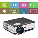 LED Projector 3500 Lumen HD 1080P WXGA 1280x800 with HDMI USB VGA TV AV Audio Built-in Speaker Free HDMI Cord Multimedia Home Theater Proyector for iPad iPhone Mac Laptop DVD XBOX Movie Game Outdoor