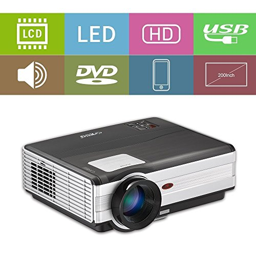 LED Projector 3500 Lumen HD 1080P WXGA 1280x800 with HDMI USB VGA TV AV Audio Built-in Speaker Free HDMI Cord Multimedia Home Theater Proyector for iPad iPhone Mac Laptop DVD XBOX Movie Game Outdoor by EUG