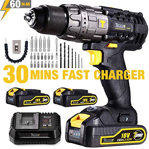Cordless Drill, 60Nm TECCPO 18V Electric Drill Driver, 30min Fast Charger 4.0A, 2 * 2.0Ah Batteries, 21+3 Torque Setting, 2 Speed, 13mm Metallic Chuck, Flexible Shaft, 29pcs Bits, Best Gift for DIY