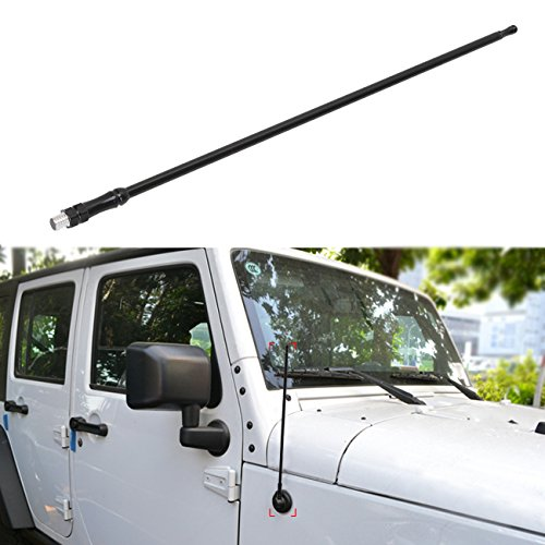 Jeep New Old Stock (for (2007-2015 Jeep Wrangler JK & Unlimited 2/4 door) | 8MM Mounting Bolt | 13-inches Metal AM FM Radio Antenna Reflex | Installs in Seconds | Black Red White)