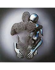 Kärlek hjärta 3D väggkonst dekor duk, abstrakt metallfigur skulptur kanvas målning hängande duk målning kärna, modernt konstverk abstrakt kanvas porträtt för vardagsrum sovrum