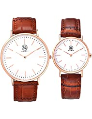 AIBI Set of 2,His and Her Watch Quartz Brown Leather Ultra Slim Waterproof Watches For Couple Lovers