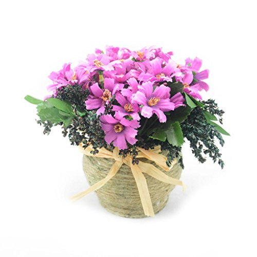 Louis Garden Hemp Rope Basket Daisy Artificial Flowers Hay Pack Home Decoration - Purple