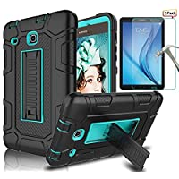 Samsung Galaxy Tab E 8.0 Case With Tempered Glass Screen Protector, L00KLY [3 in 1] High Impact Resistant Heavy Duty Shockproof Anti-Slip Armor Defender Rugged Full Body Protective Case with Kickstand Cover for Samsung Galaxy Tab E 8.0 Inch SM-T378/SM-T375/SM-T377/SM-T377W/SM-T377R/SM-T377V/SM-T377P Tablet (Blue/Black)