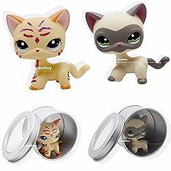 2pcs Littlest Pet Shop RARE Yellow &Cream Short Hair Cat kitty LPS #2118 #1116