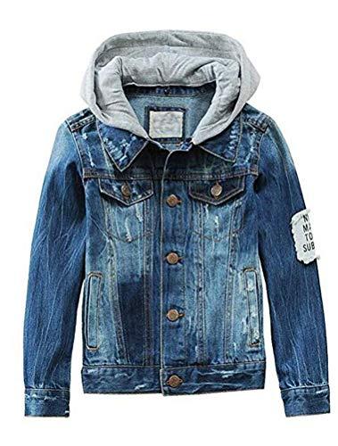 Mallimoda Kids Boys Girls Hooded Denim Jacket Zipper Coat Outerwear Style 4 Denim 2-3 Years