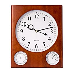 Time Factory AJ-CM105 Cherry Wall Clock with Thermometer & Hygrometer, Brown