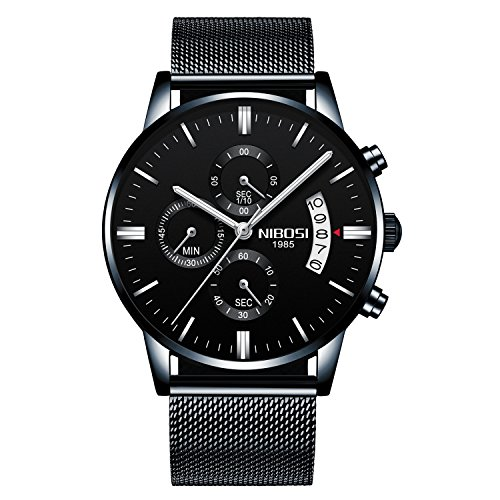 NIBOSI Men's Watches Luxury Chronograph Calendar Waterproof Military Quartz Wristwatches For Men Mesh Alloy Milanese Style Bracelet (Military Quartz Bracelet)