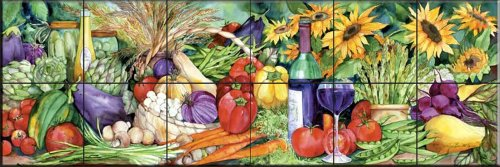 (Ceramic Tile Mural - Vegetable Medley - by Kathleen Parr McKenna - Kitchen backsplash/Bathroom shower)