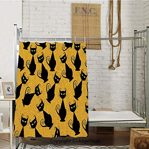Black Cat Pattern on Orange Background Halloween Witch Pet Graphic Decorative Partition Bed Curtain,(72