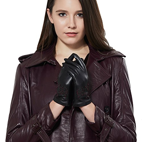 GSG Womens Embroidery Touchscreen Gloves Vivid Cherry Blossom Winter Driving Gloves Texting Italian Genuine Leather Black 8 by GSG (Image #2)