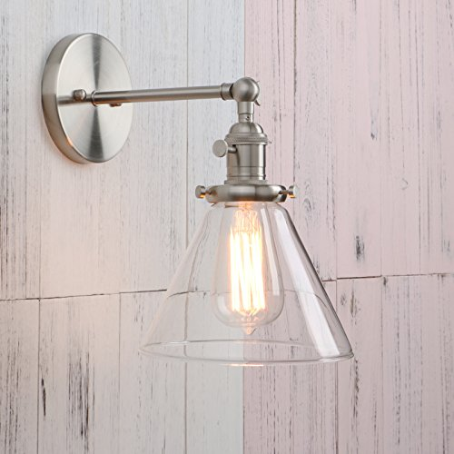 Permo Single Sconce with Funnel Flared Glass Clear Glass Shade 1-light Wall Sconce Wall Lamp (Brushed) (Replacement Wall Switch)