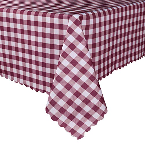 TUBEROSE Table Cloth Rectangle Oil-Proof Spill-Proof and Water Resistance Checkered Tablecloth, Burgundy & White Checker, 60x84 inch-Perfect for Dinner, Party, Camping Picnic or Everyday Use