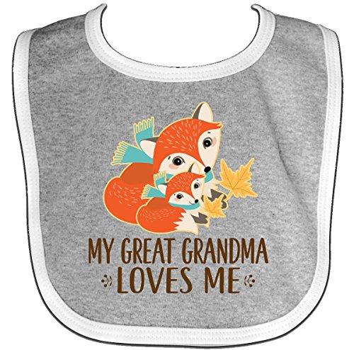 Inktastic - My Great Grandma Loves Me Fox Baby Bib Heather/White 2dc0d (Grandma Bib Great)