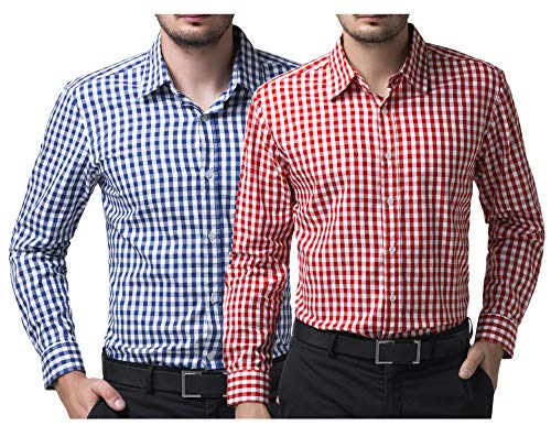 Men's Slim Fit Plaid Shirt Button-Down Casual Shit 2 Pack S (Blue + Red) ()
