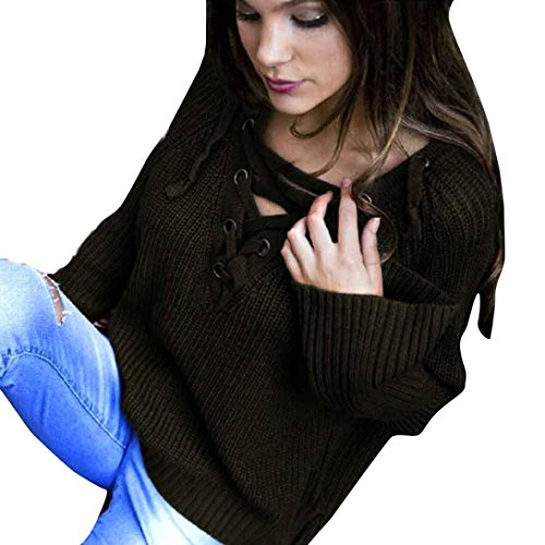 GBSELL Women Lady Long Sleeve V-Neck Lace Up Knit Top Sweater Loose Casual Pullover (Army Green, L)