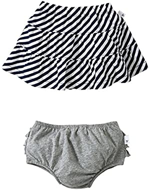 Baby Girls' Striped Skirt w/ Diaper Cover (Baby) - Grey - 24 Months