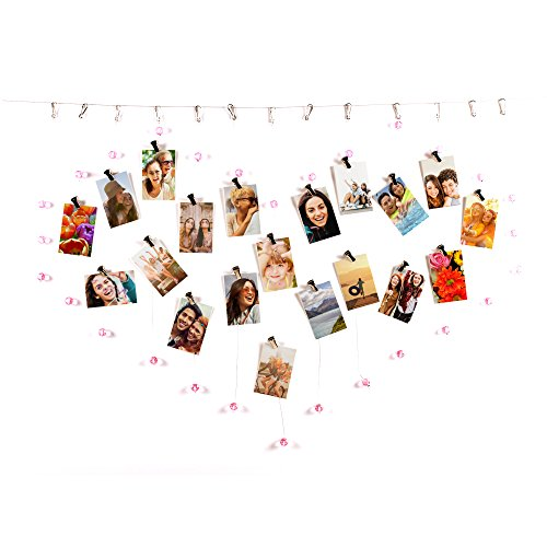 HP Sprocket Heart-Shaped Photo Display with Pink Crystals and Clips ()