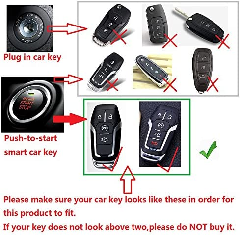 First2savvv Alumium Hard Keyless Remote Key Fob Flip Key Protection Case Cover Side Blades with keychain For Ford Mustang Explorer Taurus F-150 and Lincoln MKC MKX MKZ -CAR-Ford-A13 please check compatibility from product photo