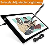 A4 Light Box, LB-A4 Super Thin LED Copy Board Drawing Light Pad with Brightness Adjustable, Art Craft Drawing Tracing Tattoo Board for Artists, Drawing, Animation, Sketching, Designing, Stencilling