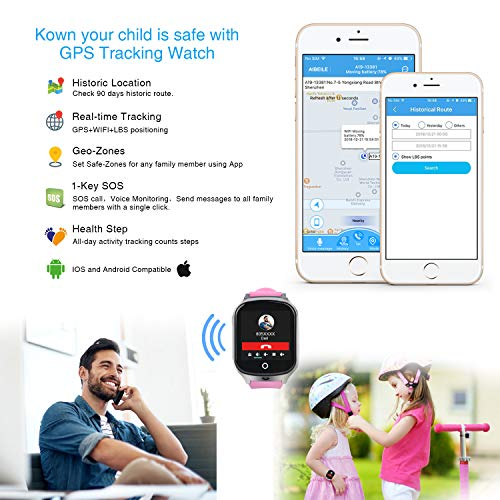 59ad7eb80 Kids Smart Watch Phone-GPS Tracker Waterproof Smart Wrist Watch with APP  for Boys Girls