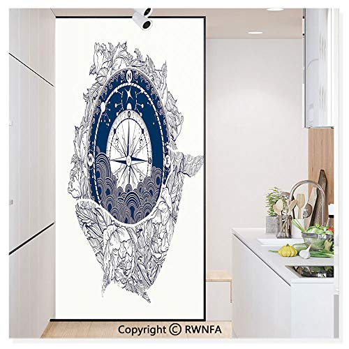 Window Door Sticker Glass Film,Antique Marine Compass and Floral Whale Figure Mystical Victorian Vintage Anti UV Heat Control Privacy Kitchen Curtains for Glass,30 x 59.8 inch,Dark Blue White ()