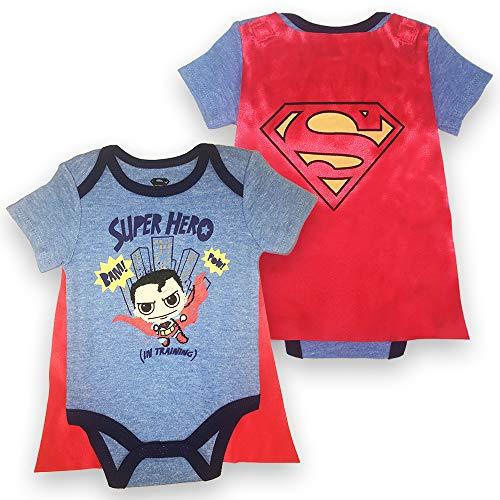 Infant Boys Superman Bodysuit Set - DC Comics Superman Short Sleeve Cape Onesie (Blue/Red, -