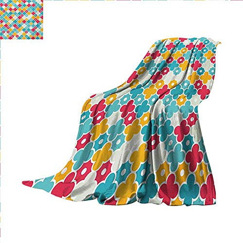 Quatrefoil Lightweight Blanket Kids Colorful Petal Clover Leaves Pattern Bohemian Casual Kids Theme Digital Printing Blanket 60 x 50 inch Red Turquoise Yellow