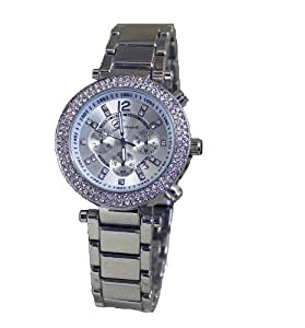 New Silver Geneva Alloy Double Rhinestone Luxury Fashion Women's Watch