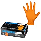 Modern Grip 17197-L Nitrile 7 mil Thickness Premium Disposable Gloves – Industrial and Household, Powder Free, Latex Free, Raised Textured for Superior Grip - Orange - Large (100 count)