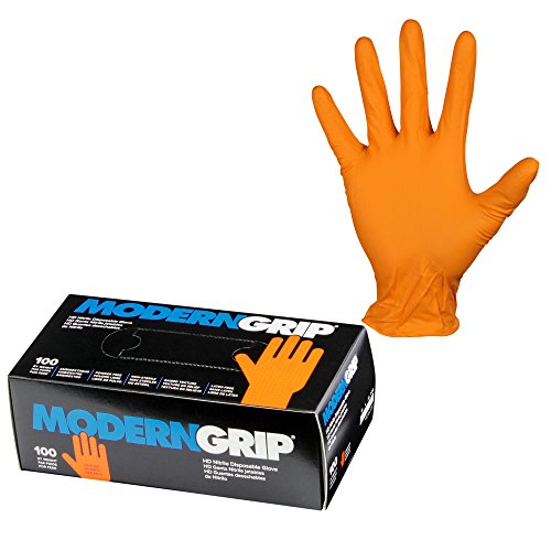 Modern Grip 17197-L Nitrile 7 mil Thickness Premium Disposable Gloves – Industrial and Household, Powder Free, Latex Free, Raised Textured for Superior Grip - Orange - Large (100 count) by Modern Grip