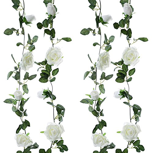 Felice Arts 2pcs 13 FT Fake Rose Vine Flowers Plants Artificial Flower Hanging Rose Ivy Home Hotel Office Wedding Party Garden Craft Art Decor, Cream