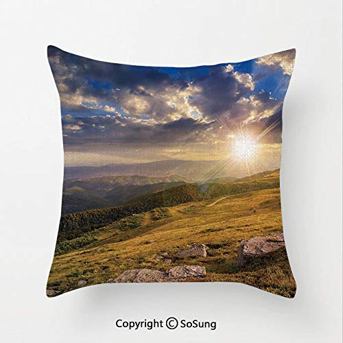 SoSung Nature Linen Throw Pillow Cushion,Mountain Hills Landscape with Bright Sun Lights on Meadow Misty Rural Panorama,17.7x17.7Inches,for Sofa Bedroom Car & Home Decorate Blue Amber Dust