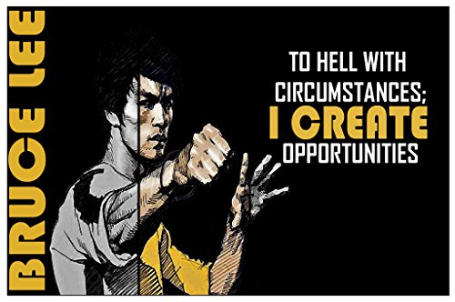 I Create Opportunities – Bruce Lee Quote Poster Wall Print Inspirational Motivational Classroom Home Office Dorm 18 X 12 In SJC81