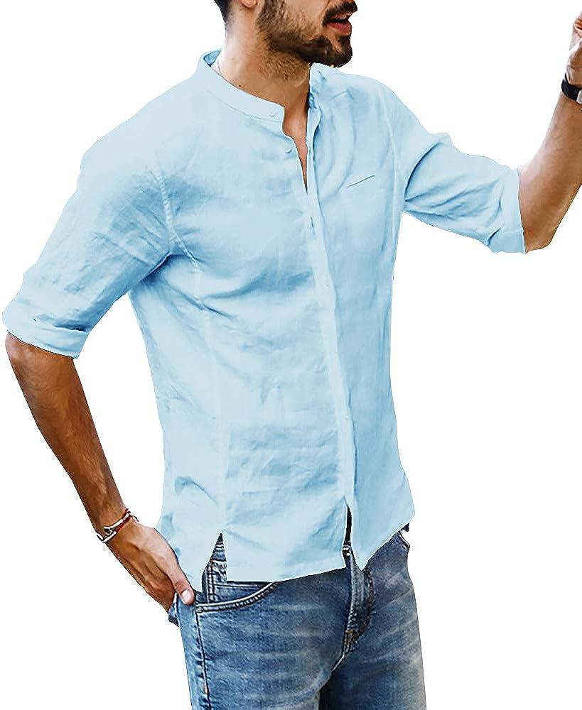 Beotyshow Mens Linen Cotton Shirt Beach Summer Button Up T-Shirt Casual Henley Tops
