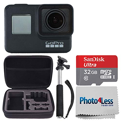 GoPro HERO7 Black Waterproof Digital Sports Action Camera – 4K30 Video + SanDisk 32GB microSDHC Memory Card + Medium Hard Case + Handheld Monopod + Photo4Less Cleaning Cloth – Deluxe Accessory Bundle