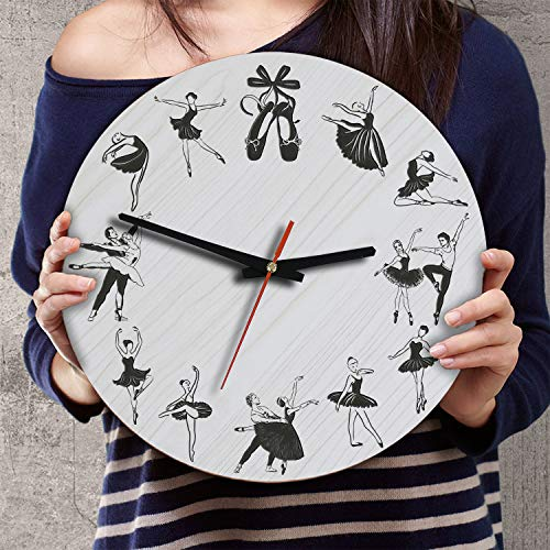 (VTH Global 12 Inch Silent Battery Operated Ballet Wood Wall Clocks Ballerina Gifts for Dad Mom Dancers Lovers)
