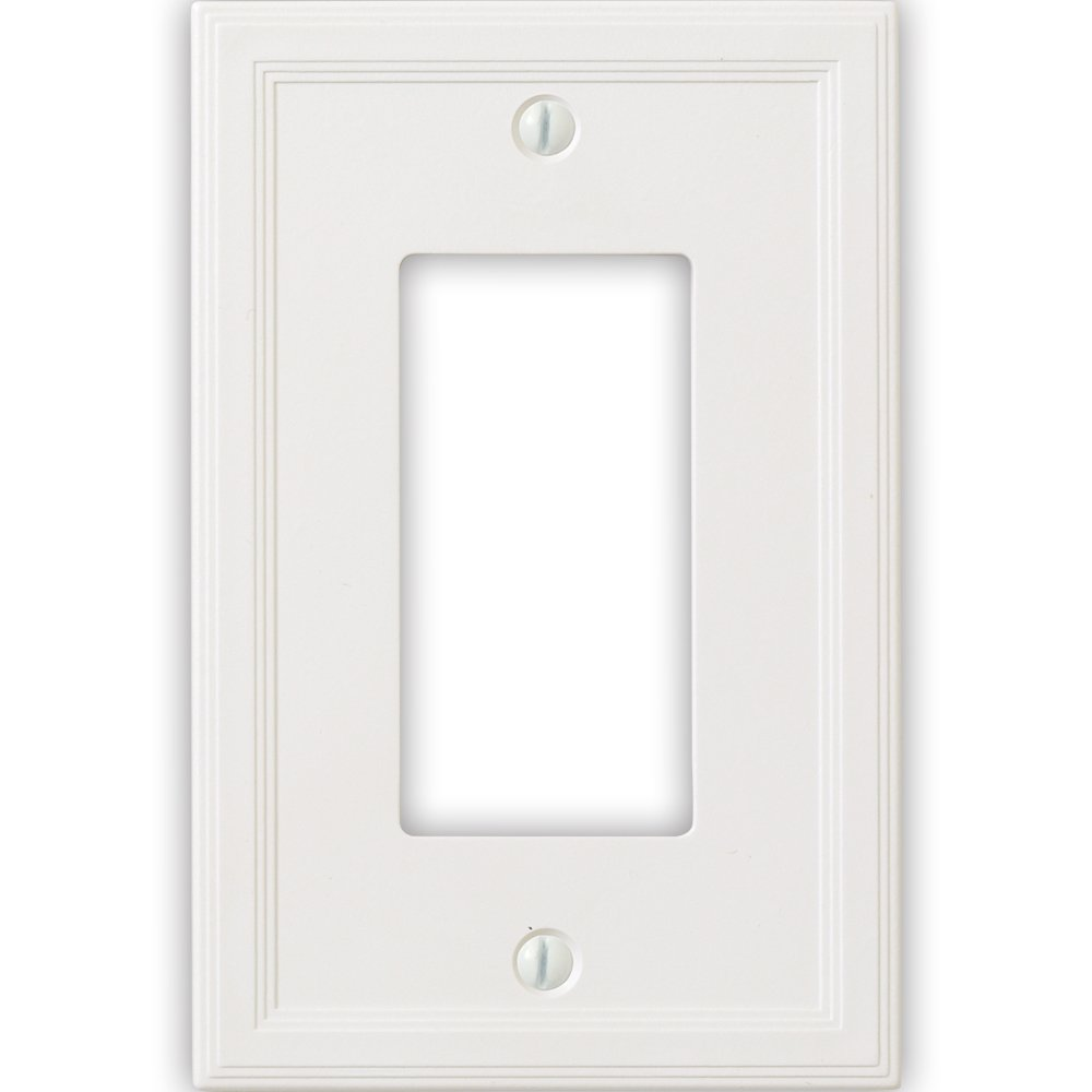 Questech Cornice Insulated Decorative Switch Plate/Wall Plate Cover – Made in the USA (Single Decorator - 6 Pack, White)
