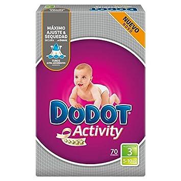 DODOT Activity pañales 5-10 kgs talla 3 paquete 70 uds: Amazon.es: Salud y cuidado personal