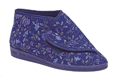 Comfylux ANDREA Ladies Nylon Velcro Floral Slippers Wine Blue qIgaXKO