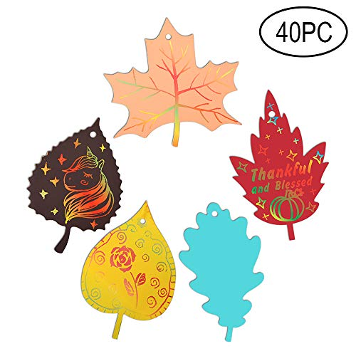 Happy Fall Party Decorations Colorful Magic Color Scratch Fall Leaves For Autumn Harvest Birthday Thanksgiving Party Supplies-40 Pack