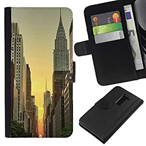For LG G2 D800 Case , York Empire Building Sunrise Sky - la tarjeta de Crédito Slots PU Funda de cuero Monedero caso cubierta de piel