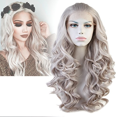 - Cbwigs Long Wavy Gray Synthetic Lace Front Wigs for Women Heat Resistant 20 inch T4503/#1001