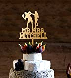 uniquepig Rustic Wood Sports Boxing Bride and Groom Mr and Mrs Personalized Wedding Cake Toppers,Wedding Gifts,Wedding Decor,Couples Gifts