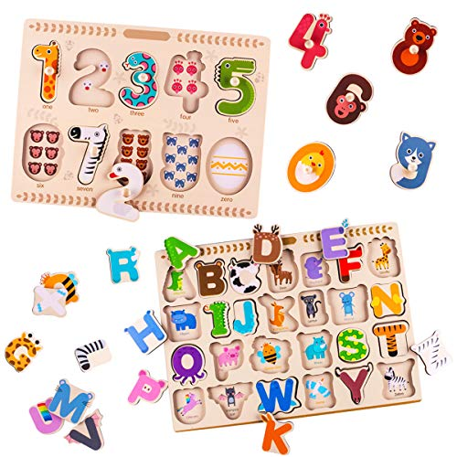 (iPlay, iLearn Kids Wooden Peg Puzzles Play Set, Alphabet, ABC, 123, Knob Jigsaw Board, Magnetic Letters Numbers, Counting, Learning Montessori Toy Gift for 1, 2, 3 Year Olds, Toddlers Baby Girls Boys)