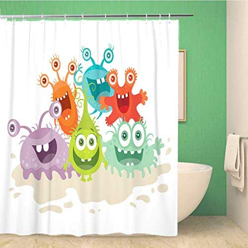 Awowee Bathroom Shower Curtain Cartoon Monsters Funny Smiling Germs Character Big Eyes 72x78 inches Waterproof Bath Curtain Set with Hooks