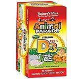 vitamin d kids - Nature's Plus - Animal Parade Vitamin D3 500 IU Children's Chewable - Black Cherry Flavor,  90 count