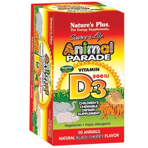 Nature s Plus - Animal Parade de la Vitamine D3 500 UI Enfants à Croquer - Noir Saveur de Cerise, 90 comte